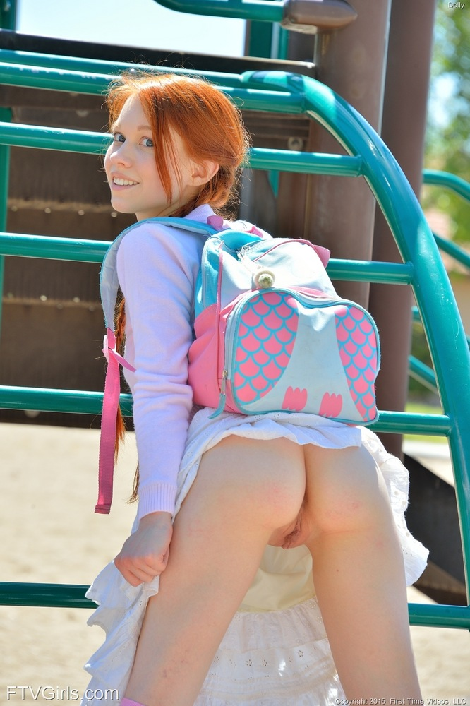 Naughty Sexy Redhead Babe Dolly Out Of School
