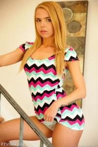 Naughty Teen Blonde Babe Olina is Petite In Heels